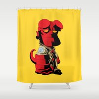 daenerys targaryen Shower Curtains featuring The Hero From Hell by bimorecreative