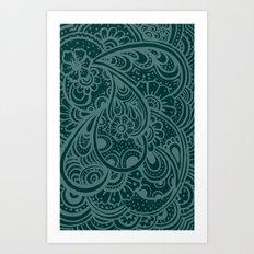 Teal Paisley Art Print