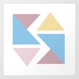 Geometric triangle pastel origami Art Print