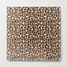 Coffee beans pattern Metal Print
