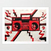 radio Art Prints featuring RADIO  by Cyn Art