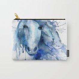 Watercolor Horse Portrait Paint Splatter Carry-All Pouch