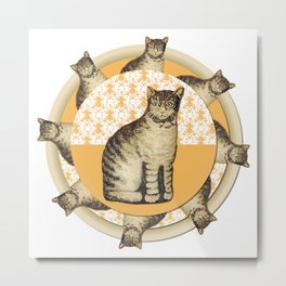 Cat Pillow Pinwheel Metal Print