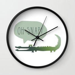 Oh Snap Alligator Illustration Wall Clock