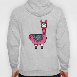 Doodle Llama on Grey Triangle Background Hoody
