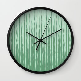 Simple Abstract Rough Organic Stripes | Dark Natural Colors, Grass and Forest Wall Clock