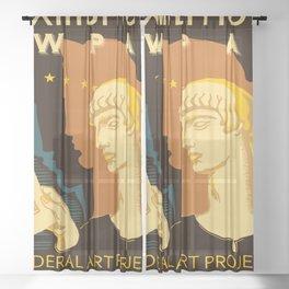 Federal Art Pennsylvania retro ad Sheer Curtain