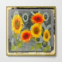 GREY GRUBBY SHABBY CHIC STYLE SUNFLOWERS ART Metal Print