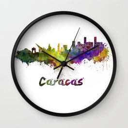 Caracas skyline in watercolor Wall Clock