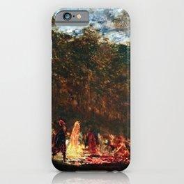 Restored: Night Festival & Bonfire, Figures on a Boat River Landscape by Felix Ziem iPhone Case