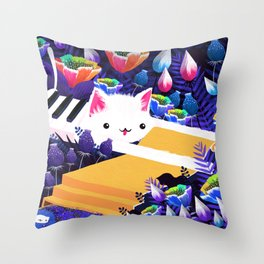 Piano Cat in the Forest Throw Pillow