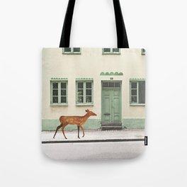 Deer in town Tote Bag