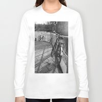 bicycles Long Sleeve T-shirts featuring bicycles near the canal by habish