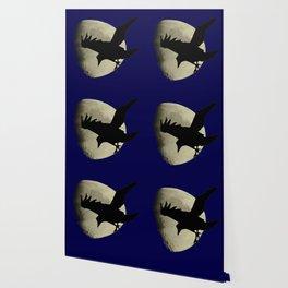Raven Flying Across The Moon Wallpaper