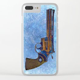 Colt Python 357 Magnum on Blue Back Ground Clear iPhone Case