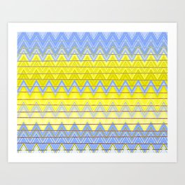 Simple Yellow Grey and Periwinkle Blue Zig Zag Modern Art Print