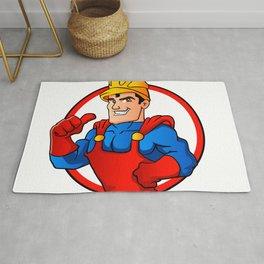 Superhero handyman in circle Rug