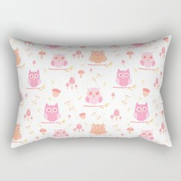Cute funny pastel pink coral orange owl floral Rectangular Pillow