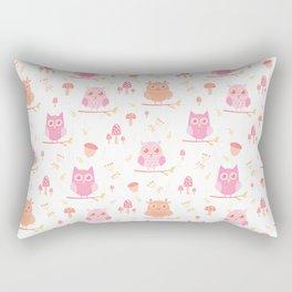 Cute funny pastel pink coral orange owl floral Rectangular Pillow