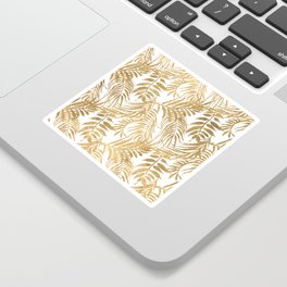 Elegant tropical gold white palm tree leaves floral Sticker