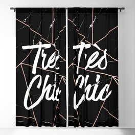 Tres Chic Black Geometric Marble Gold Triangles Blackout Curtain