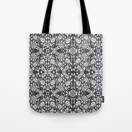 Monochromatic Floral Tote Bag