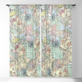 Nature Bloom Pattern Sheer Curtain