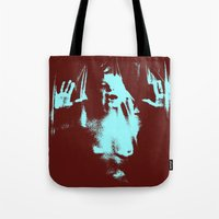 psycho Tote Bags featuring Psycho by Groovyal