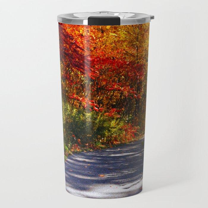Paved Autumn Path Travel Mug