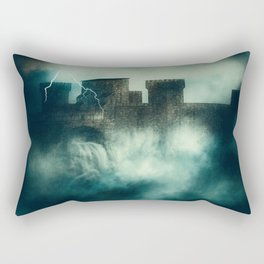 Medieval fortress in the heavy fog at night Rectangular Pillow