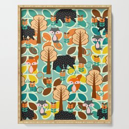Magical forest with foxes and bears Serving Tray