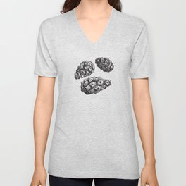 seamless pattern with Pine cones and frosty patterns. Brown and blue. Sketch. vector Unisex V-Neck