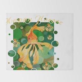 Happy Norooz Persian New Year Goldfish In Green Sea Throw Blanket