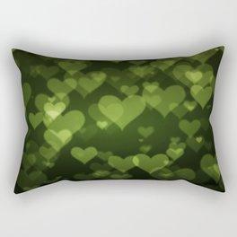 Soft Green Hearts On Dark Graduated background Rectangular Pillow