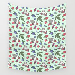 Guinea Pig Pattern in Mint Green Background with mix berries Wall Tapestry