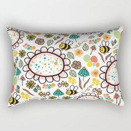 Flowers and Bees Rectangular Pillow