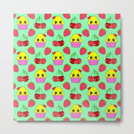 Cute funny sweet adorable happy little yellow baby cupcakes, little cherries and red ripe summer strawberries cartoon fantasy light pastel green pattern design Metal Print