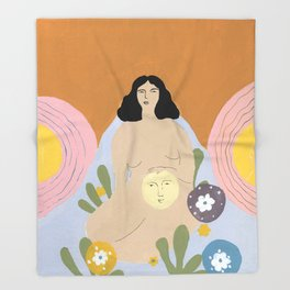 Taking care of the moon Throw Blanket