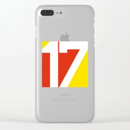 17 in Red and Gold Clear iPhone Case