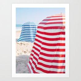 Striped Beach Cabanas – French Riviera, Travel Photography Art Print