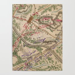 Vintage Map of The Battle of Chantilly (1865) Poster