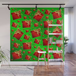 many little red gifts with golden bow on green Wall Mural