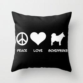 Peace, Love, Schipperke Throw Pillow