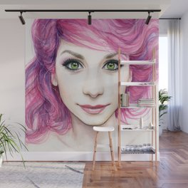 Pink Hair Girl Wall Mural