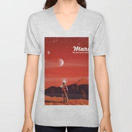 Mars Vintage Space Travel poster Unisex V-Neck
