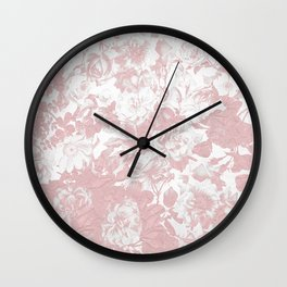 Girly trendy pink coral white lace floral Wall Clock