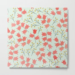 Pink and Yellow Florals Metal Print