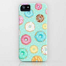 Scattered Rainbow Donuts on spotty mint - repeat pattern iPhone Case