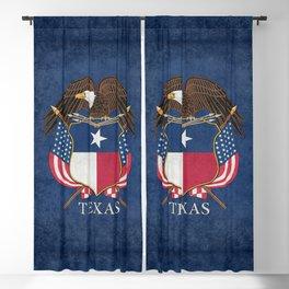 Texas flag and eagle crest - original vintage concept Blackout Curtain