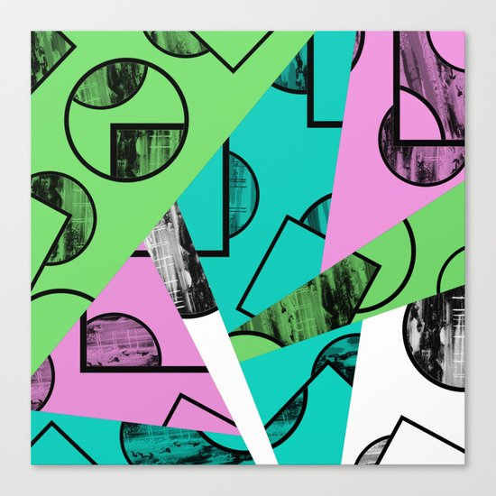 Broken Pieces - Pastel coloured, geometric, textured abstract Canvas Print